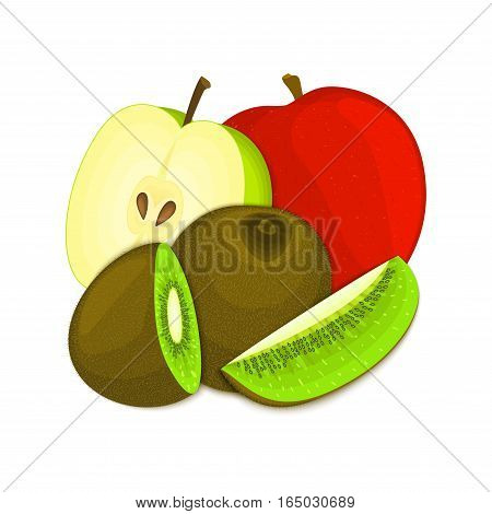 Composition of juicy apple and kiwi. Ripe vector kiwifruit and apples fruits whole and slice appetizing looking. Group of tasty fruits for design packaging of juice, breakfast healthy eating vegan