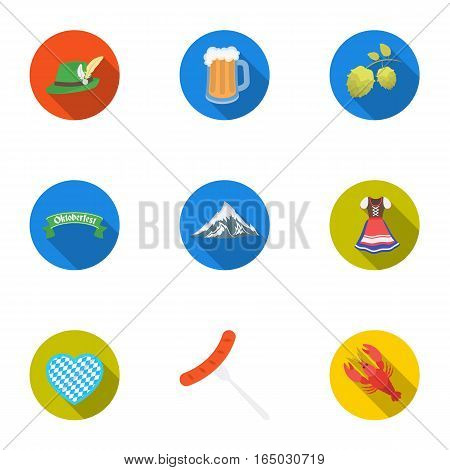 Oktoberfest set icons in flat style. Big collection of Oktoberfest vector symbol stock