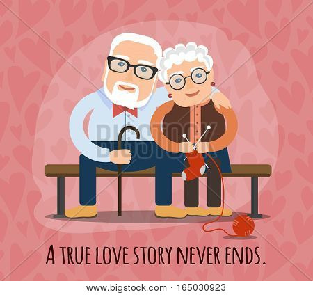 A true love story never ends. elderly people, the lovers cuddling on a bench