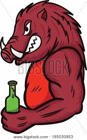 Wild Boar with a Bottle of Drink Cartoon Illustration