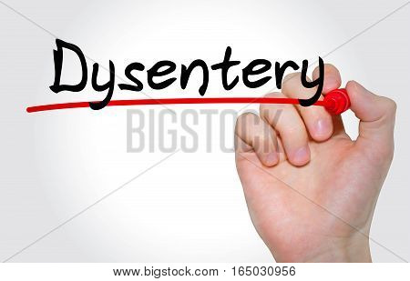Hand Writing Inscription Dysentery With Marker, Concept