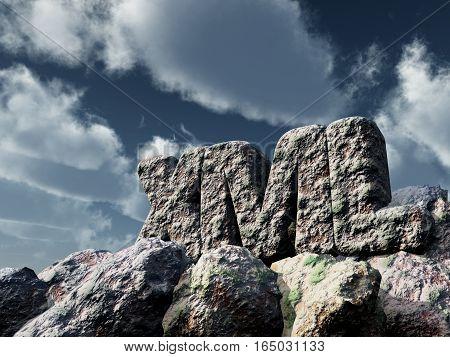 xml rock under cloudy sky - 3d rendering