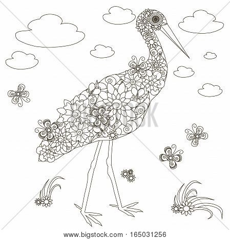 Flowers stork, coloring page anti-stress stock vector illustration