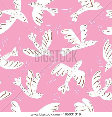 White vector silhouette flying birds on pink background seamless pattern.