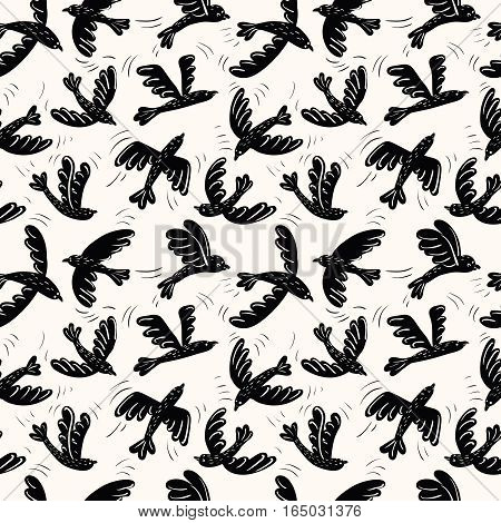 Cartoon vector black silhouette flying birds seamless pattern. Animal decoration background.
