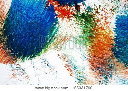 Macro shot of abstract acrylic art background. Multicolor light and bright texture. Fragment of artwork. Spots of acrylic paint. Modern contemporary art.