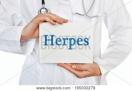 Herpes Card In Hands Of Medical Doctor