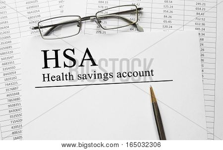 Paper With Health Savings Account Hsa On A Table