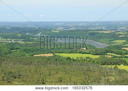 Landscape in Brittany (Finistere), France - view from Menez Hom