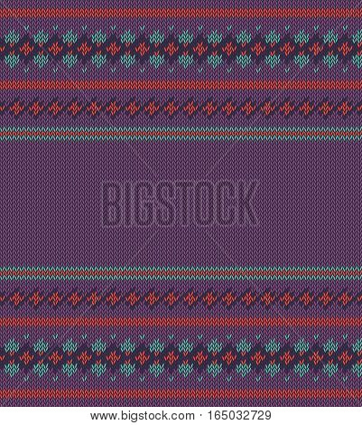 Knitted  texture on purple background with place for text. Colorful striped pattern. Can be used as scheme of knitting, wallpaper, design element, independent project, etc. Woolen cloth.