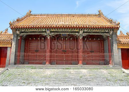Imperial Ancestral Temple of Shenyang Imperial Palace (Mukden Palace), Shenyang, Liaoning Province, China. Shenyang Imperial Palace is UNESCO world heritage site built in 400 years ago.