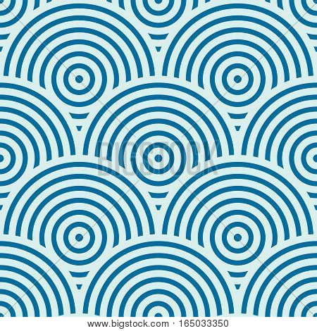Vector ornamental continuous background made using undulate lines curves and circles.