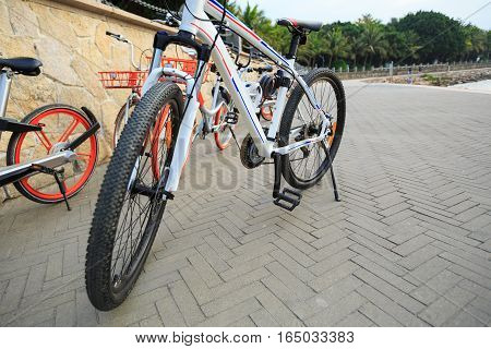 closeup of parking bike waiting for next rider