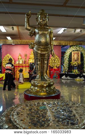 NONTHABURI THAILAND - JAN 8 2017 : the place of worship at Wat Borom Raja Kanchanapisek Anusorn commonly known as Wat Leng-noei-yi 2. The largest Chinese Buddhist temple in Thailand.