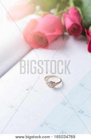 Wedding Gold Rings On Calender (14 February)