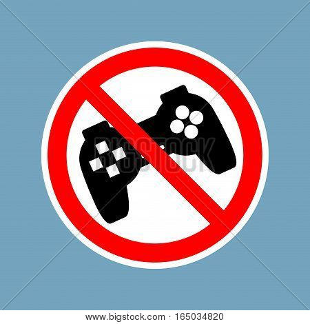 Stop Video Games. Ban Gamepad Red Sign. Prohibited Joystick. Vintage Video Game Gadget. Console Acce