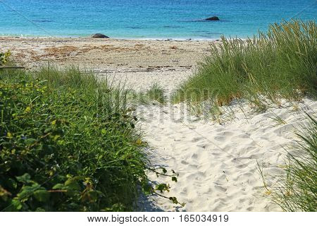 Beach in summer at Brignogan-Plages, Brittany, France