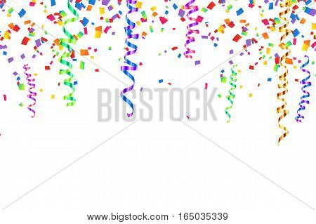 Colorful serpentine and confetti vector holiday background