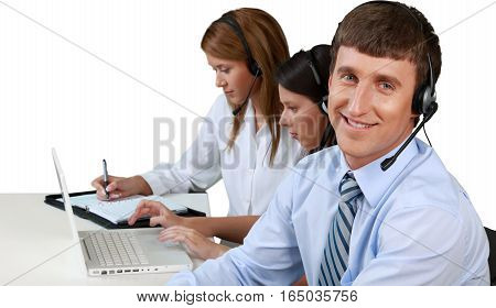 Manager and Call Center Employees Working in Background - Isolated