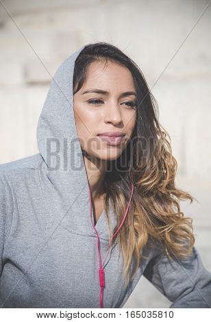 Portrait of sportswoman resting after an exercise session