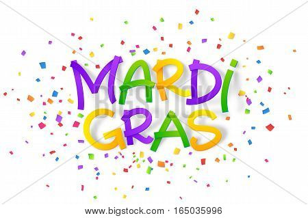 Traditional colors Mardi Gras vector hand drawn lettering sign in 3D style