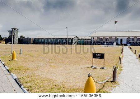 ROBBEN ISLAND SOUTH AFRICA - DECEMBER 19 2016: Photo of Robben Island Maximum Security Prison where Nelson Mandela later President of South Africa was incarcerated for 18 years.