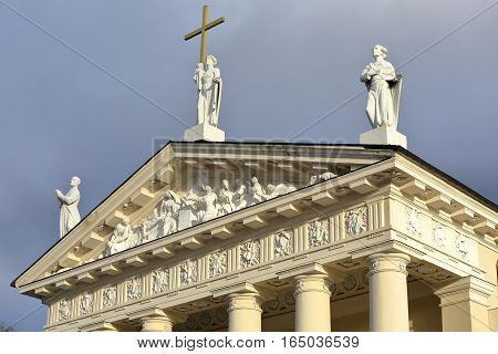 VILNIUS, LITHUANIA: The Cathedral on Cathedral Square showing details of sculptures on the pediment