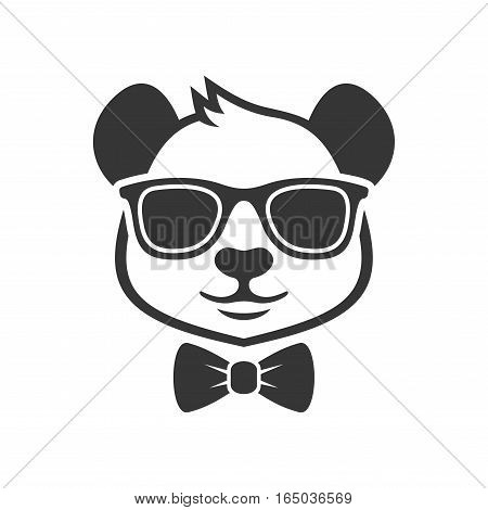 Panda Portrait in a Glasses with Bow Tie. Vector illustration
