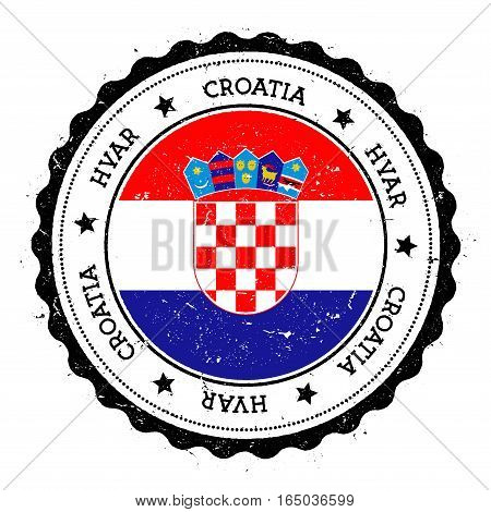 Hvar Flag Badge. Vintage Travel Stamp With Circular Text, Stars And Island Flag Inside It. Vector Il
