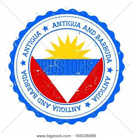 Antigua Flag Badge. Vintage Travel Stamp With Circular Text, Stars And Island Flag Inside It. Vector