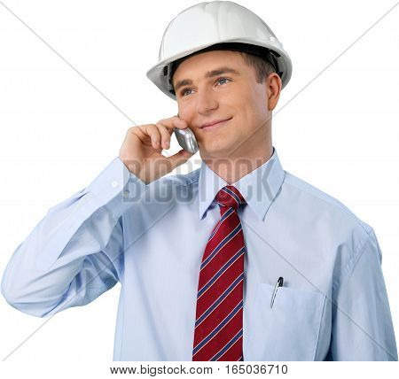 Portrait of Male Architect Wearing Helmet and Talking on Mobile Phone