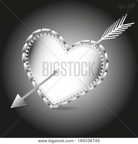 Arrow and heart image Abstract holiday valentine architectural design style paper pattern shadow contour of handmade exclusive party logo printing eps10 vector illustration Stock