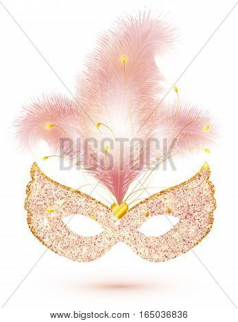 Pink shining glitter vector carnival mask with feathers isolated on white background