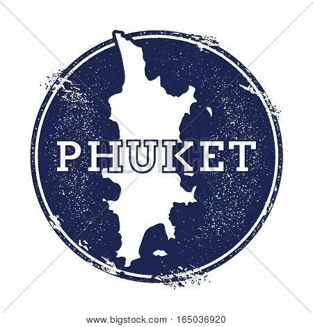 Phuket Vector Map. Grunge Rubber Stamp With The Name And Map Of Island, Vector Illustration. Can Be