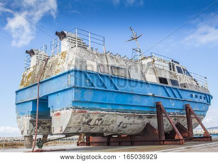 Salvaged stern trawler on dock at Robben Island