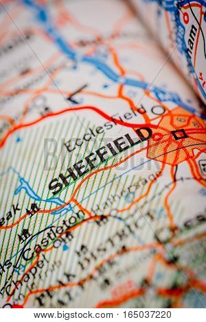 Sheffield City On A Road Map