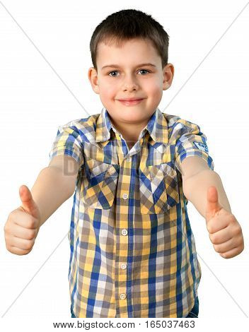 Smiling Little Boy with Thumbs Up, Isolated on Transparent Background