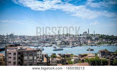 Eminonu, Turkey - April 18, 2014: Eminonu district in Istanbul