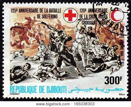 DJIBOUTI - CIRCA 1984: a stamp printed in the Djibouti dedicated to 125th Anniversary of Battle of Solferino and 120th Anniversary of Red Cross circa 1984