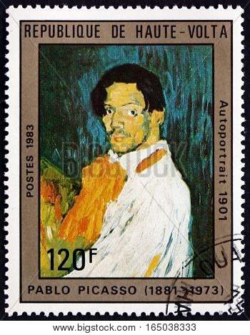 BURKINA FASO - CIRCA 1983: a stamp printed in Burkina Faso shows Self-portrait Painting by Pablo Picasso Spanish Painter circa 1983
