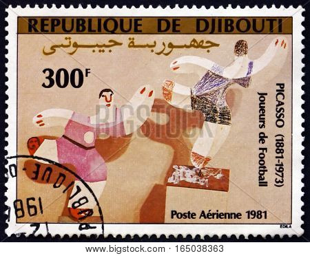 DJIBOUTI - CIRCA 1981: a stamp printed in the Djibouti shows Football Players Painting by Pablo Picasso Spanish Painter circa 1981