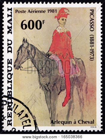 MALI - CIRCA 1981: a stamp printed in Mali shows Harlequin on Horseback Painting by Pablo Picasso Spanish Painter circa 1981