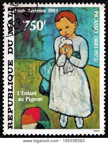 MALI - CIRCA 1981: a stamp printed in Mali shows Child Holding a Dove Painting by Pablo Picasso Spanish Painter circa 1981