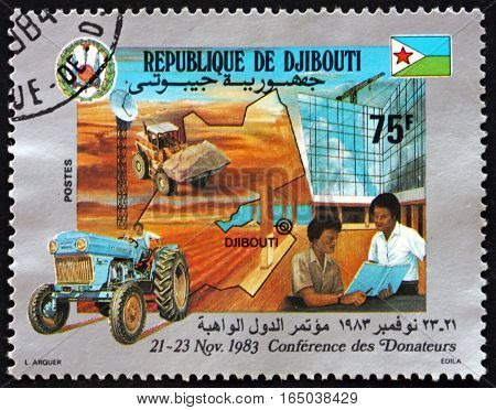 DJIBOUTI - CIRCA 1983: a stamp printed in the Djibouti dedicated to Conference of Donors circa 1983