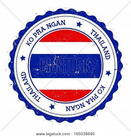 Ko Pha Ngan Flag Badge. Vintage Travel Stamp With Circular Text, Stars And Island Flag Inside It. Ve