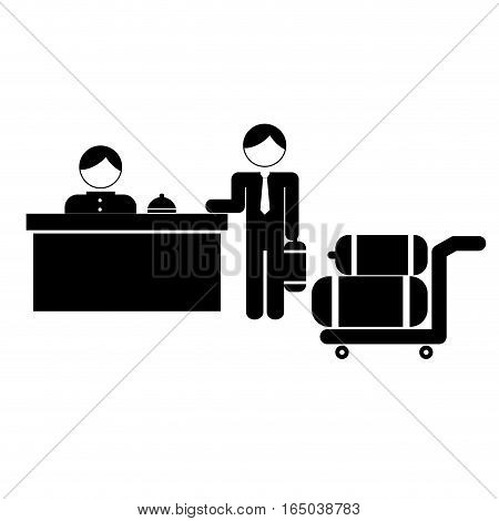 hotel desk clerk and gues with luggage icon image vector illustration design