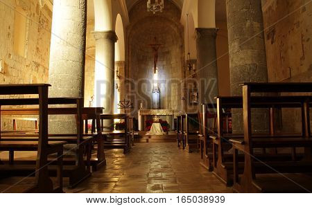 TARQUINIA ITALY - JANUARY 5 2017: interior of the medieval Church of St. Martino
