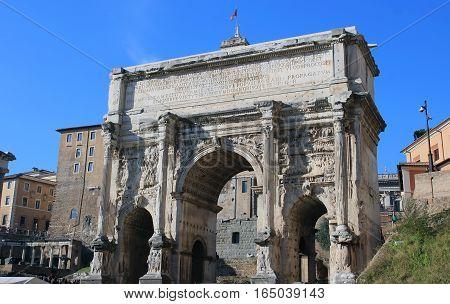 arch of septimius severus in the Roman forum Rome
