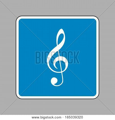 Music violin clef sign. G-clef. Treble clef. White icon on blue sign as background.