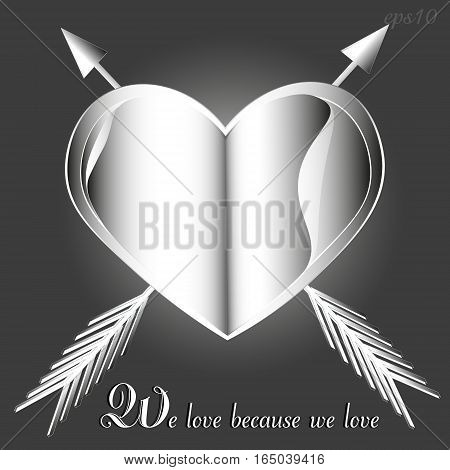 Valentine emblem heart and arrow Abstract handmade book love romance text white object page paper petal spearhead style shadow empennage congratulation eps10 stock vector illustration